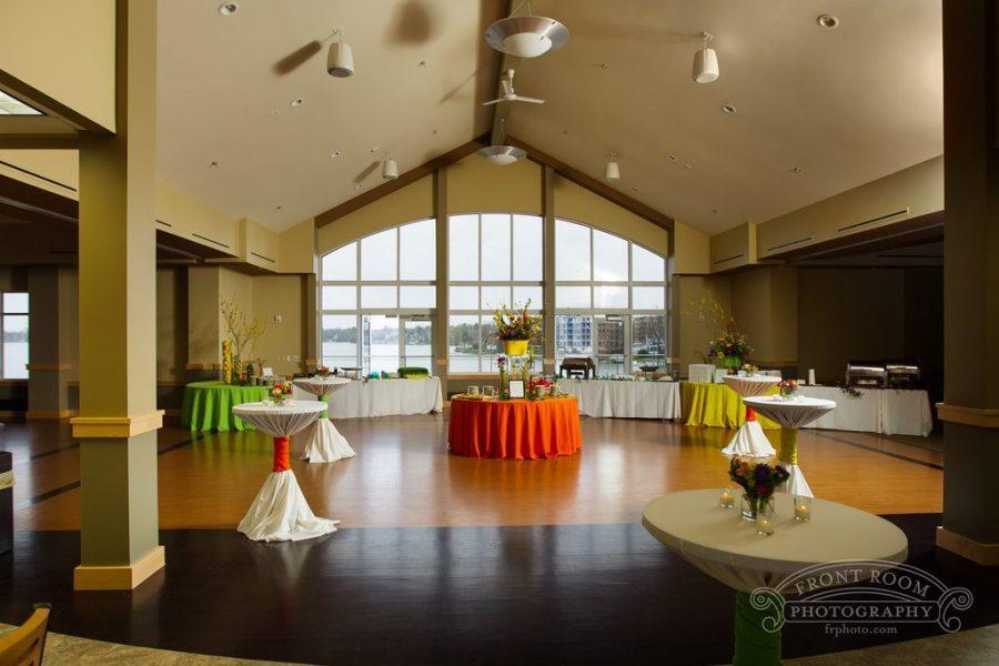 The Oconomowoc Community Center has large windows overlooking Lac La Belle making it a beautiful reception venue.