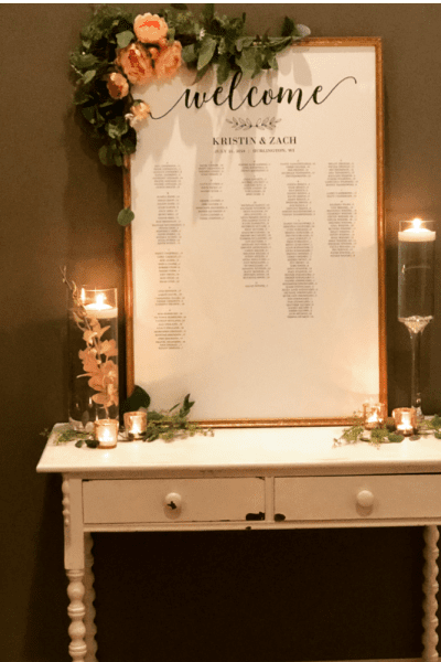 Antique piece with seating chart