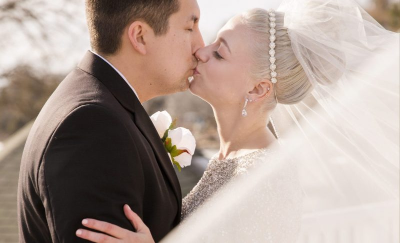 close up of couple kissing