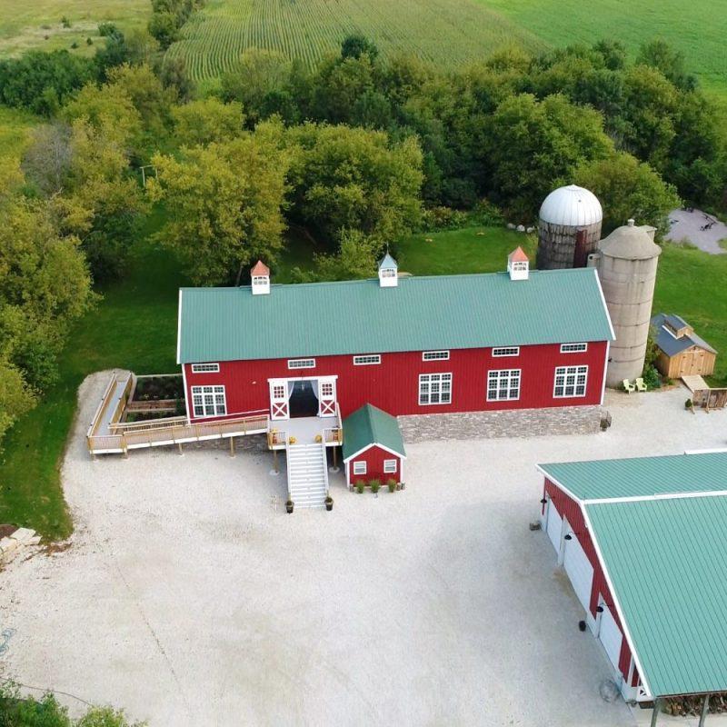 An aerial shot of the Cupola Barn in Oconomowoc, WI