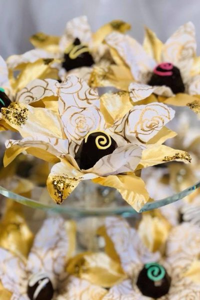 gold Hand made fabric truffle/chocolate/sweet holders