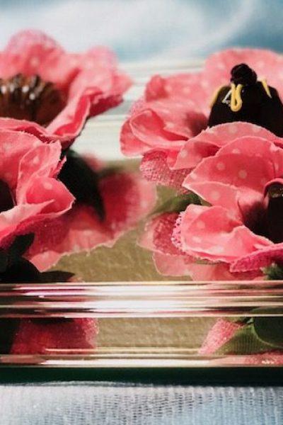 Pink flowers Hand made fabric truffle/chocolate/sweet holders