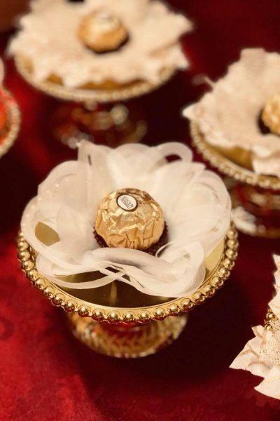 Hand made fabric truffle/chocolate/sweet holders in light brown