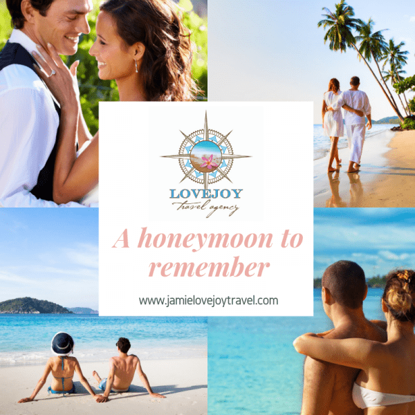 Four honeymoon couple images with logo and tag line in middle