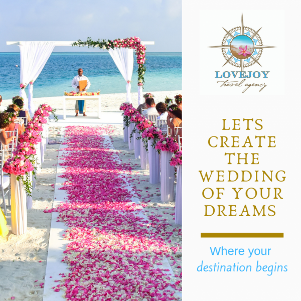 Destination Wedding Ceremony on Ocean shoreline with Lovejoy logo and tag line
