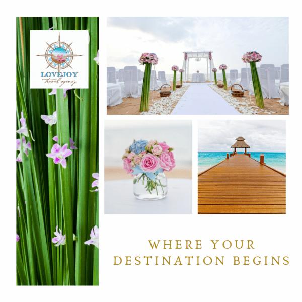 Four Destination Wedding images with Lovjoy logo