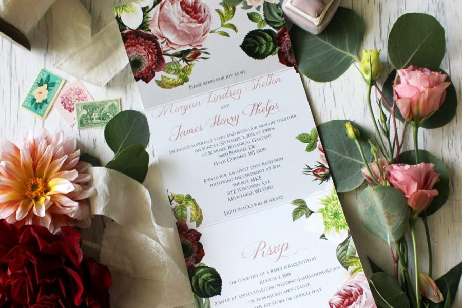 Custom wedding invitation with floral accents by DCo Lovenotes