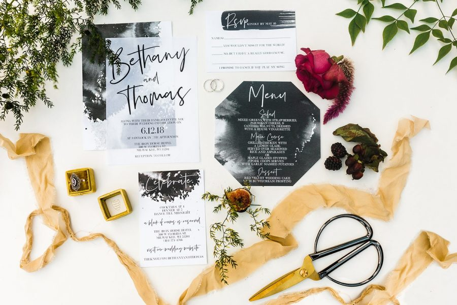 Modern design custom wedding invitation and menu card