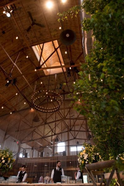 Dramatic ceiling of The Peck & Bushel Barn