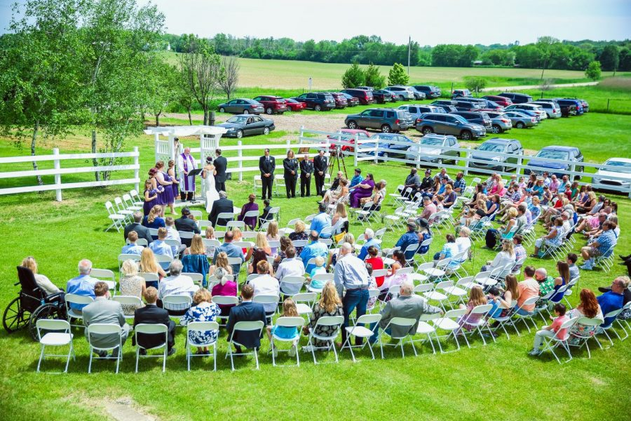 Outdoor wedding ceremony at the Farmstead