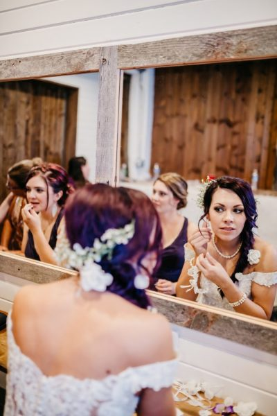 Bride getting ready at the Farmstead