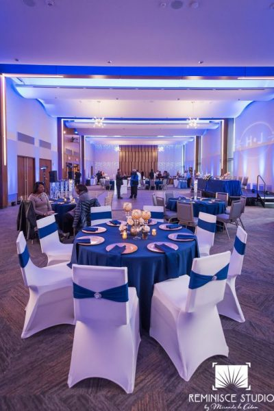 Wedding reception in blue and white at the War Memorial Center MKE