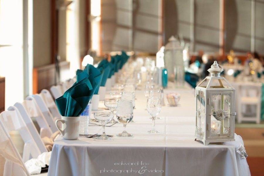 White and Teal Head table at wedding- Milwaukee's War Memorial Center