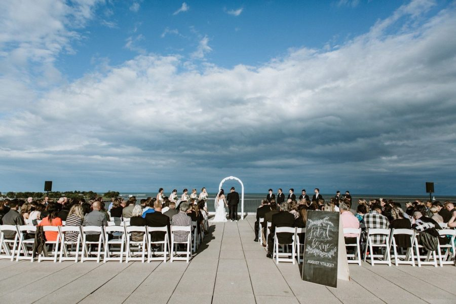 Outside Wedding ceremony with breathtaking view overlooking Lake Michigan-War Memorial Center