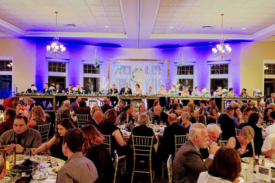 Elegant wedding reception at Veterans Terrace at Echo Park in Burlington, WI
