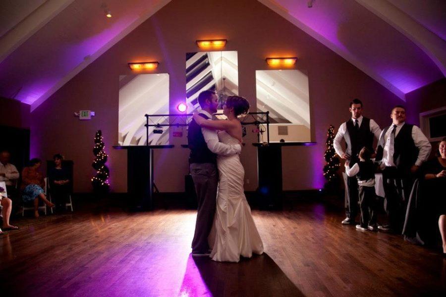 Bride and groom dance at wedding reception at Red Circle Inn in Nashotah, WI