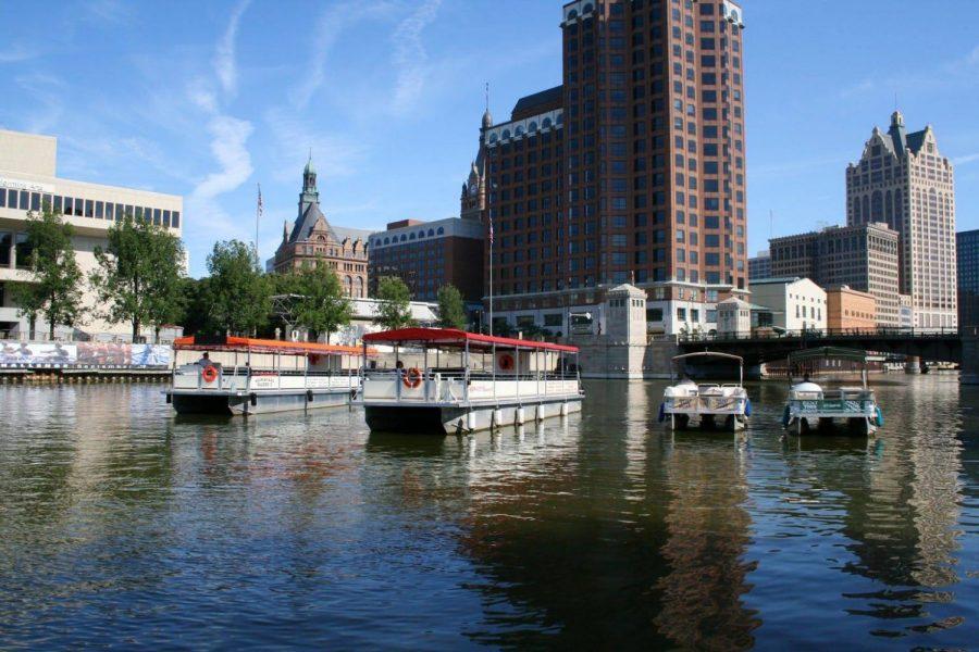 pontoon boats on the Milwaukee River