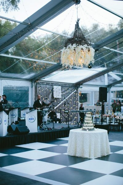Clearspan tented event with chandelier- Rentals by Well Dressed Tables