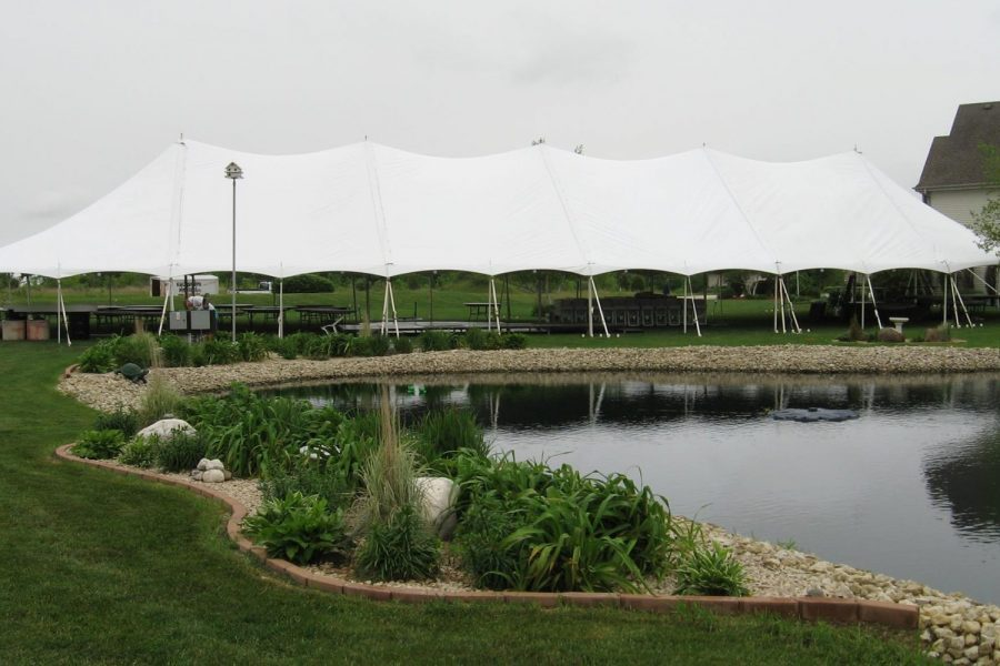 Tent near pond- Celebrations Tent & Party Rentals
