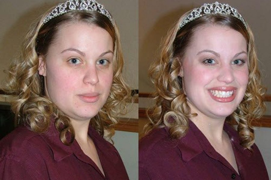 Images of bride before and after makeup