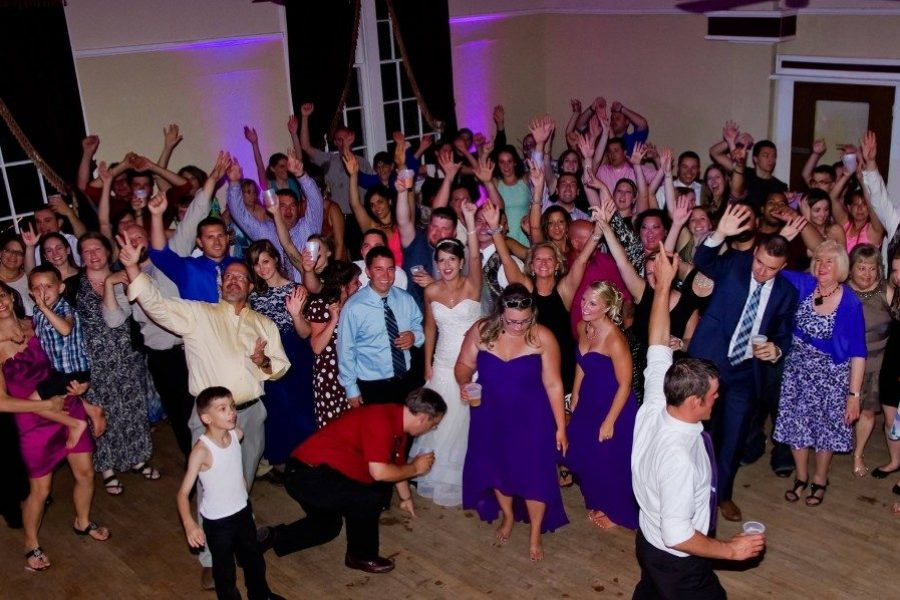 Wedding guests having a great time on the dance floor