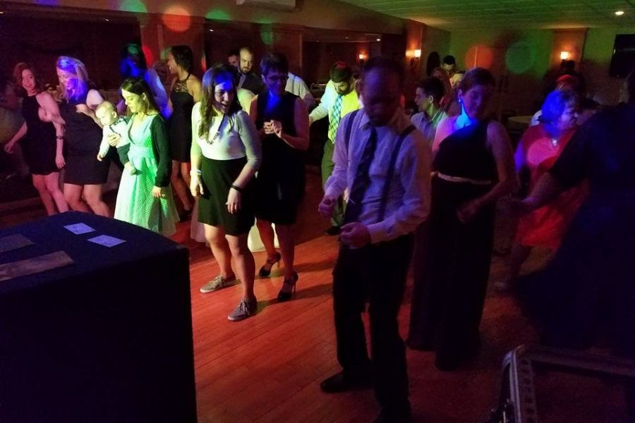 Line dancing at a wedding