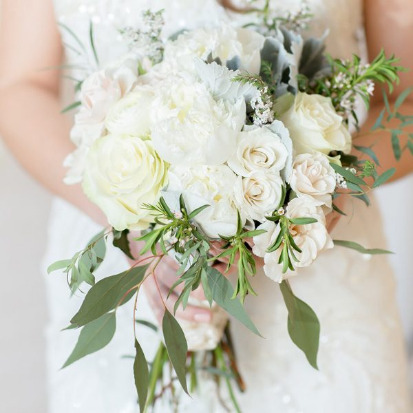 Classic white bridal bouquet by Alfa Flower & Wedding Shop, serving greater MKE !
