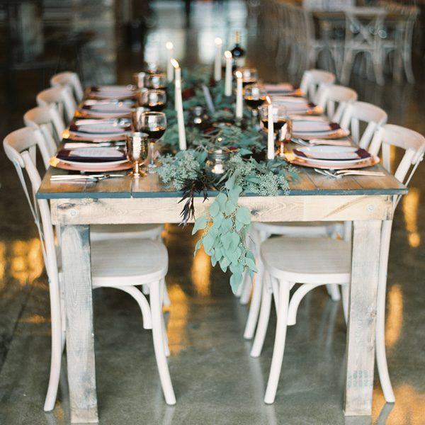 Table greenery from Alfa Flower & Wedding Shop in Wauwatosa, WI