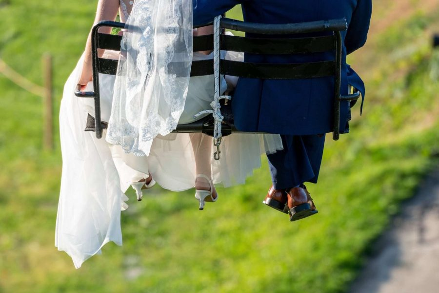 Just married on ski lift