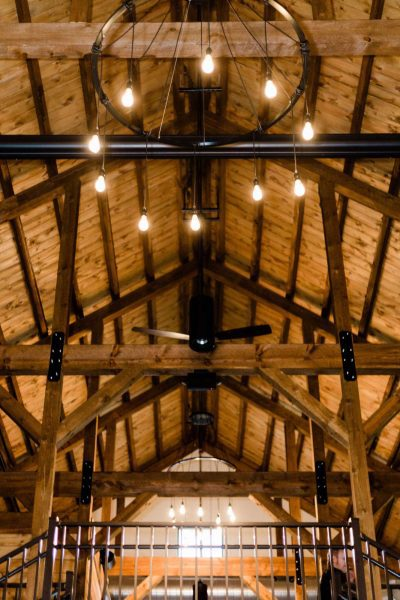 Dramatic vaulted ceiling at the Barn at the Bog
