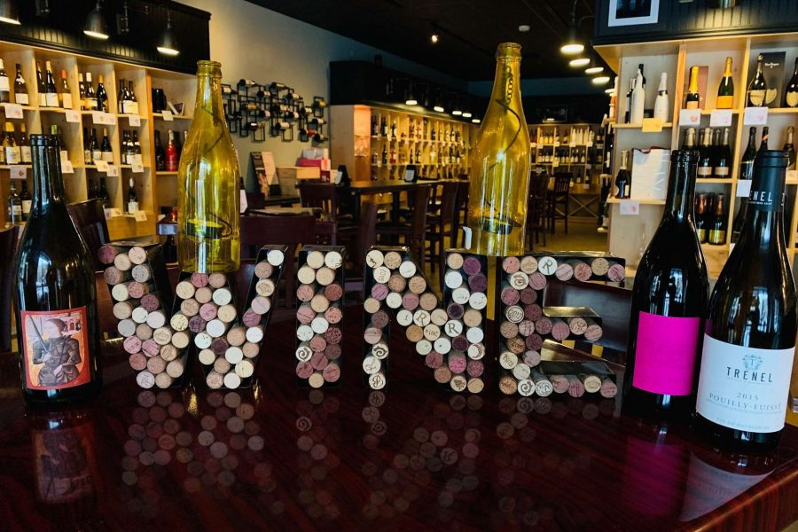 Wine! sign made out of corks!