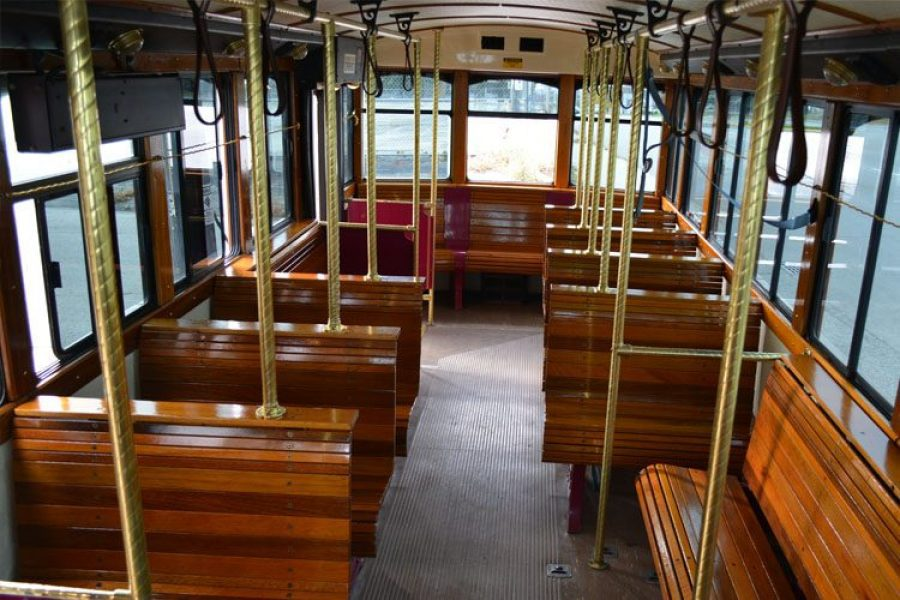 Inside of a trolley
