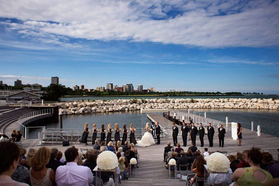 Wedding ceremony at Discovery World on the lakefront in Milwaukee