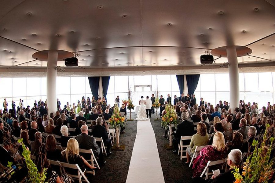 Wedding ceremony at the Pilot House at Bartolotta Events & Catering at Discovery World
