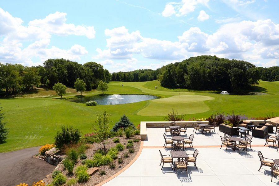 Beautiful outside patio area for cocktail hour or ceremonies overlooking West Bend Country Club