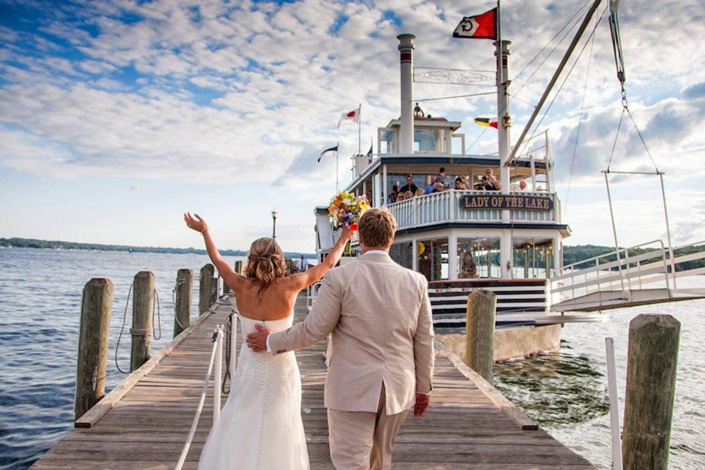 Bride and Groom arrive at Lake Geneva Cruise Line