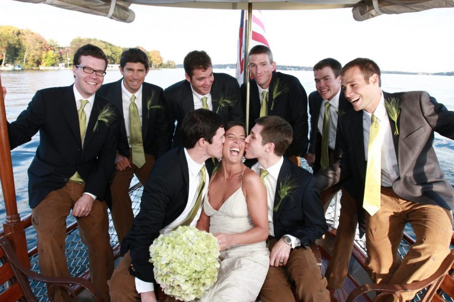wedding party on Lake Geneva Cruise lines vessel