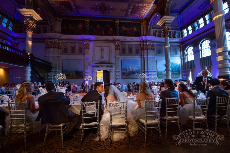Kings table at wedding at the Grain Exchange Room in Milwaukee