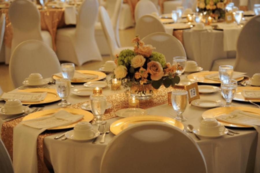 Classic and elegant tablescape at a Tripoli Shrine Center wedding reception.