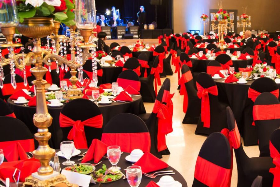 elegant black and red themed wedding reception at the Tripoli Shrine Center in Milwaukee