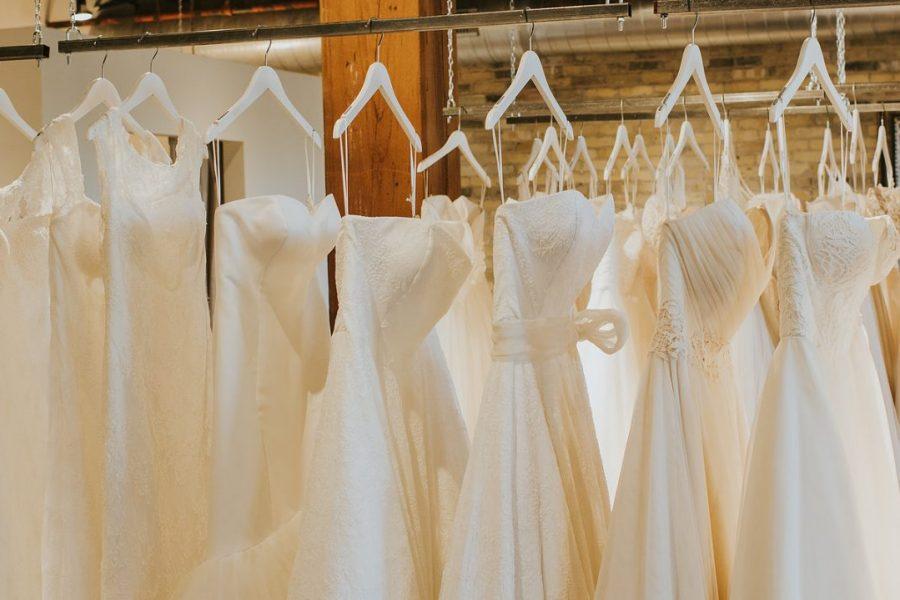 Image in store of wedding dressing hanging