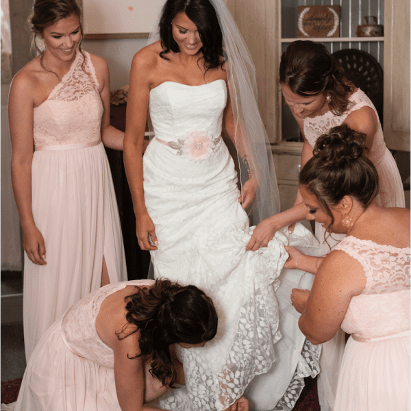 Bride and wedding party getting ready