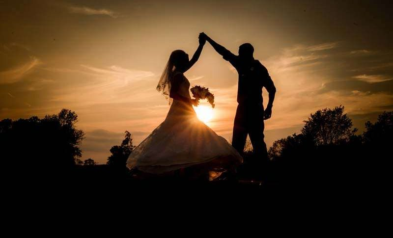 Bride and Groom at Sunset at the Bog