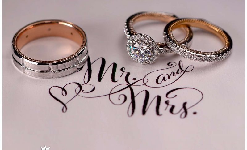 Wedding bands and engagement ring from Barnes