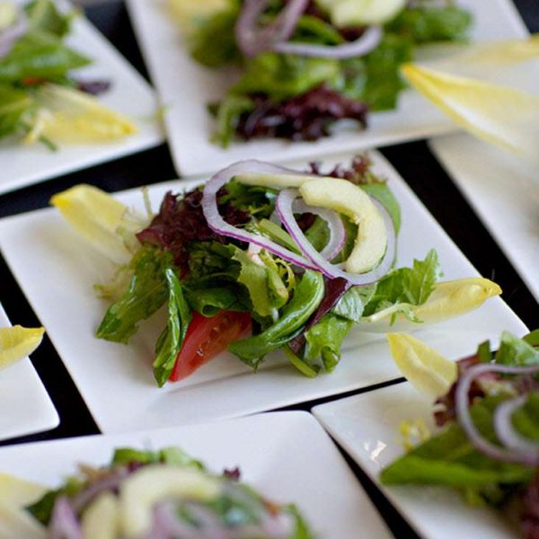 Plated salads at the Italian Community Center