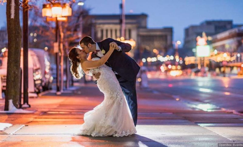 Wedding couple dancing outside the Hyatt Regency Milwaukee
