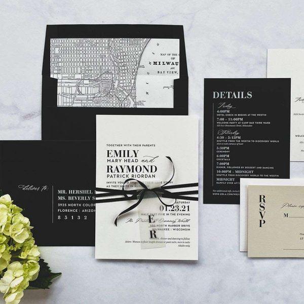 Modern wedding invitation suite by Paperwhites- Milwaukee Weddings
