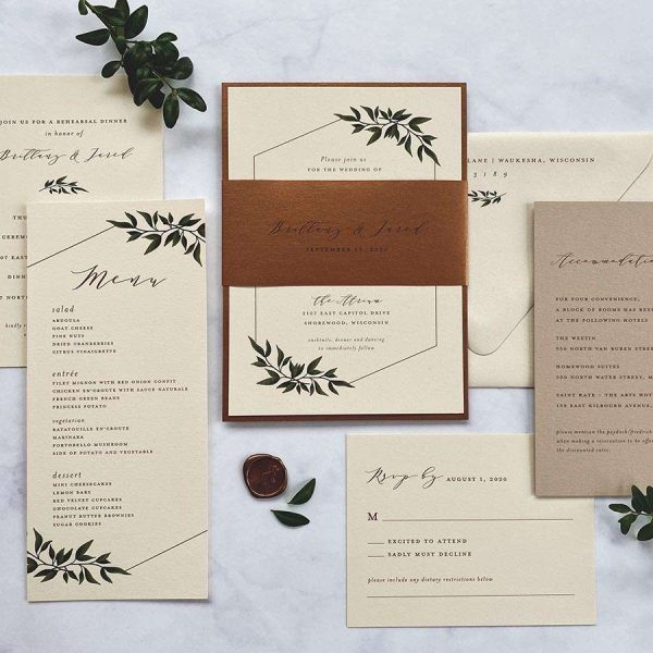 Copper and neutral shade wedding invitation suite created by Paperwhites