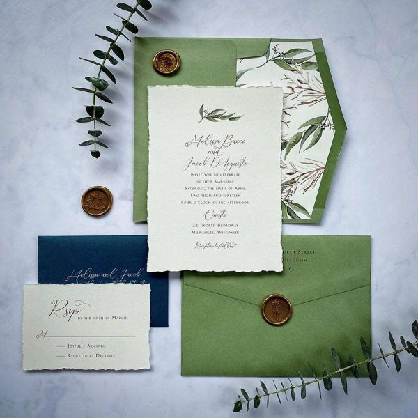 Sage and cream wedding invitation suite with deckled edge by Paperwhites- Milwaukee weddings