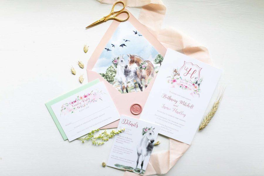 Custom equestrian wedding invitations